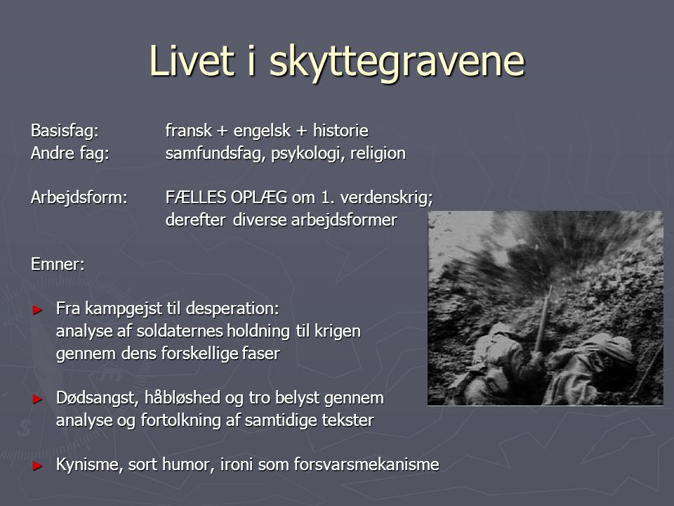 Livet i skyttegravene Basisfag: fransk + engelsk + historie