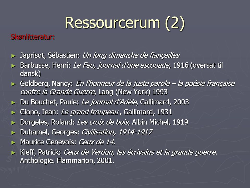 Ressourcerum (2) Skønlitteratur: