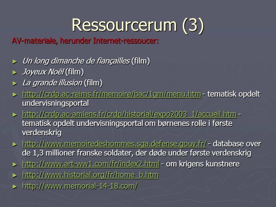 Ressourcerum (3) AV-materiale, herunder Internet-ressoucer: