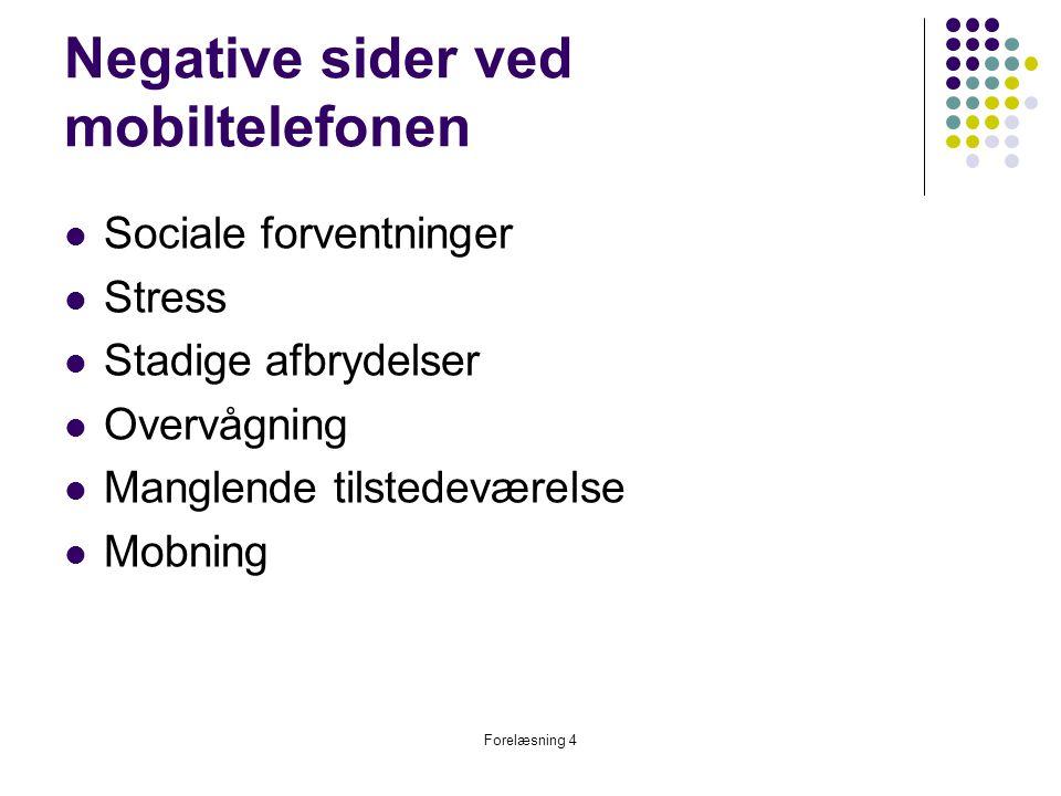 Negative sider ved mobiltelefonen
