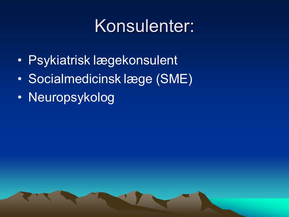 Konsulenter: Psykiatrisk lægekonsulent Socialmedicinsk læge (SME)