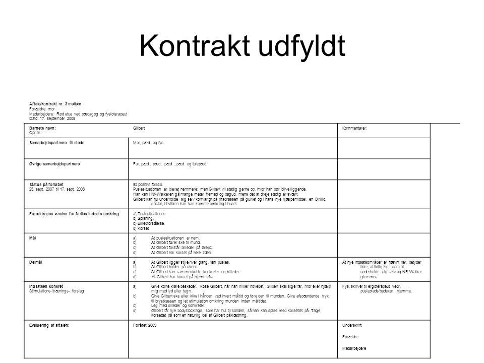 Kontrakt udfyldt Fredensborg kommune Specialbørnehaven i Karlebo