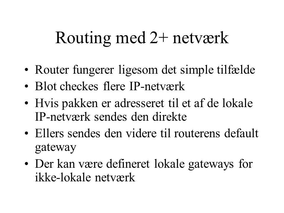 Routing med 2+ netværk Router fungerer ligesom det simple tilfælde