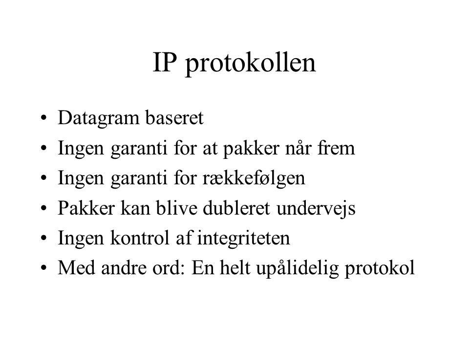 IP protokollen Datagram baseret Ingen garanti for at pakker når frem