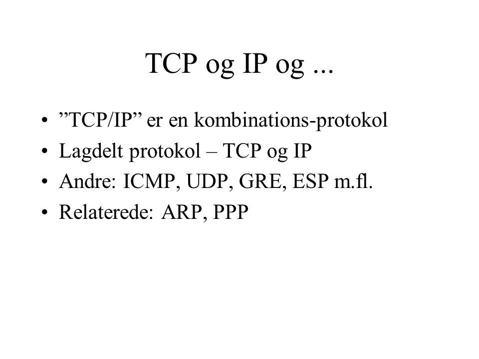 TCP og IP og ... TCP/IP er en kombinations-protokol