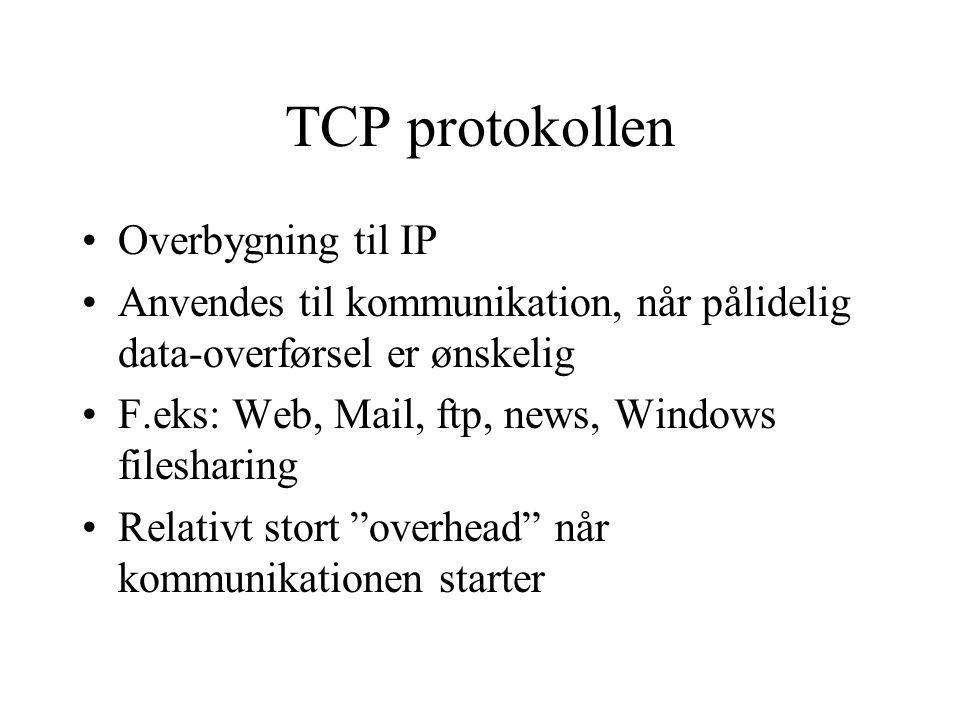 TCP protokollen Overbygning til IP