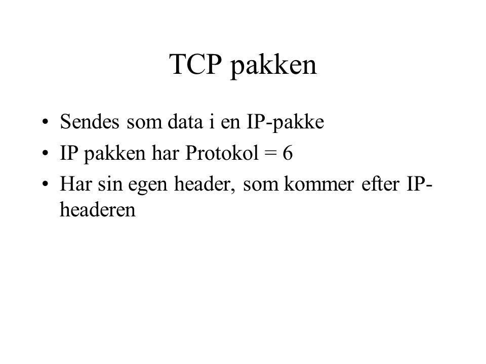 TCP pakken Sendes som data i en IP-pakke IP pakken har Protokol = 6