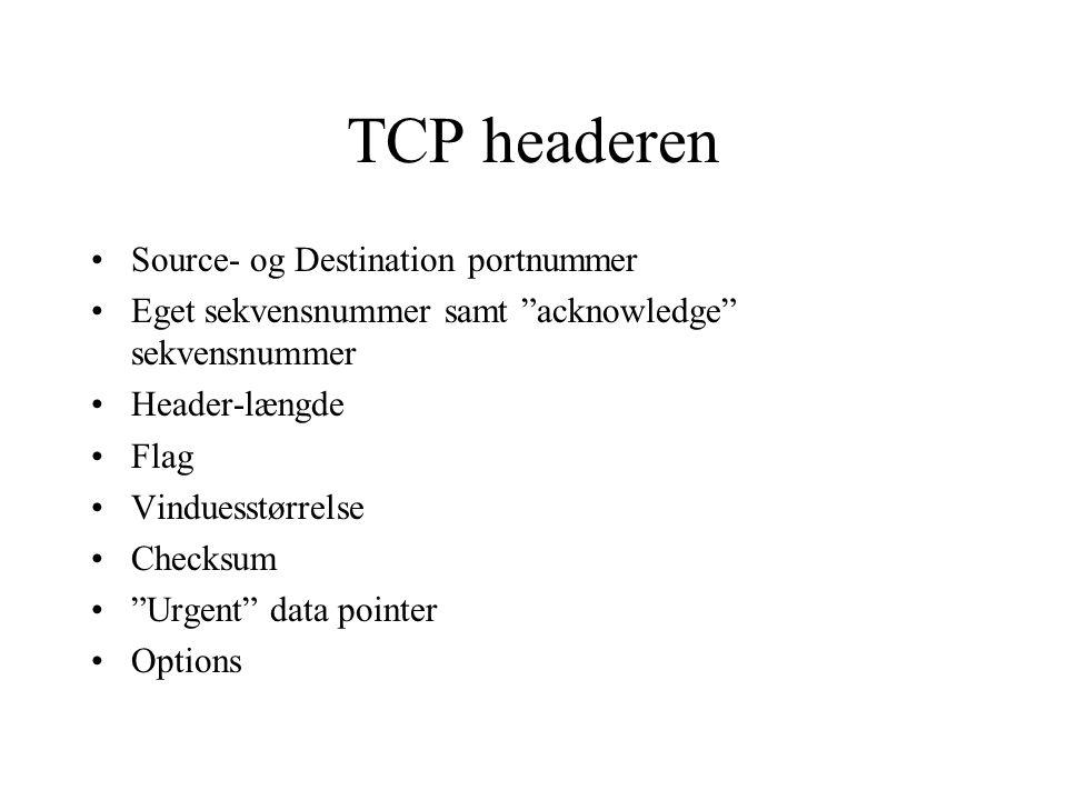 TCP headeren Source- og Destination portnummer