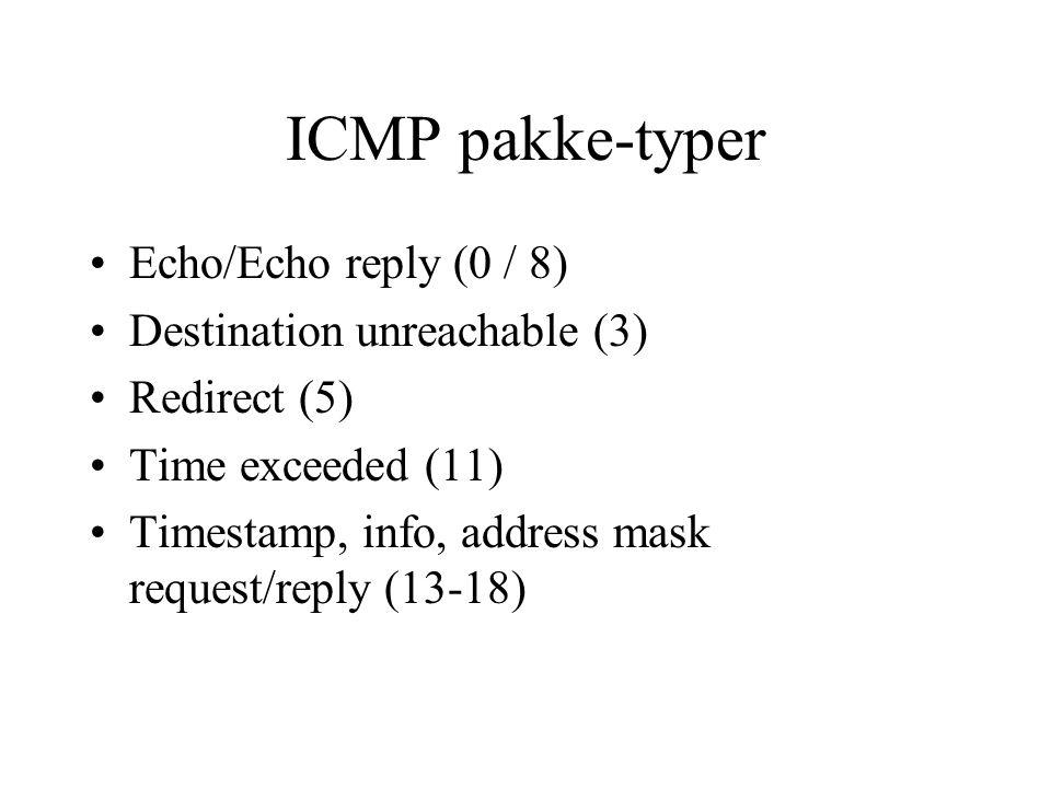 ICMP pakke-typer Echo/Echo reply (0 / 8) Destination unreachable (3)