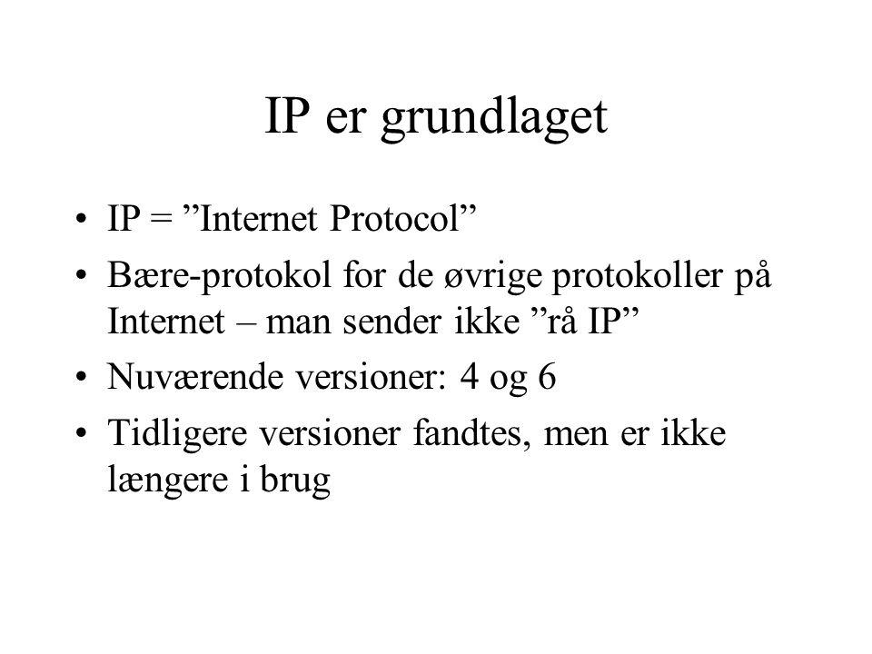 IP er grundlaget IP = Internet Protocol