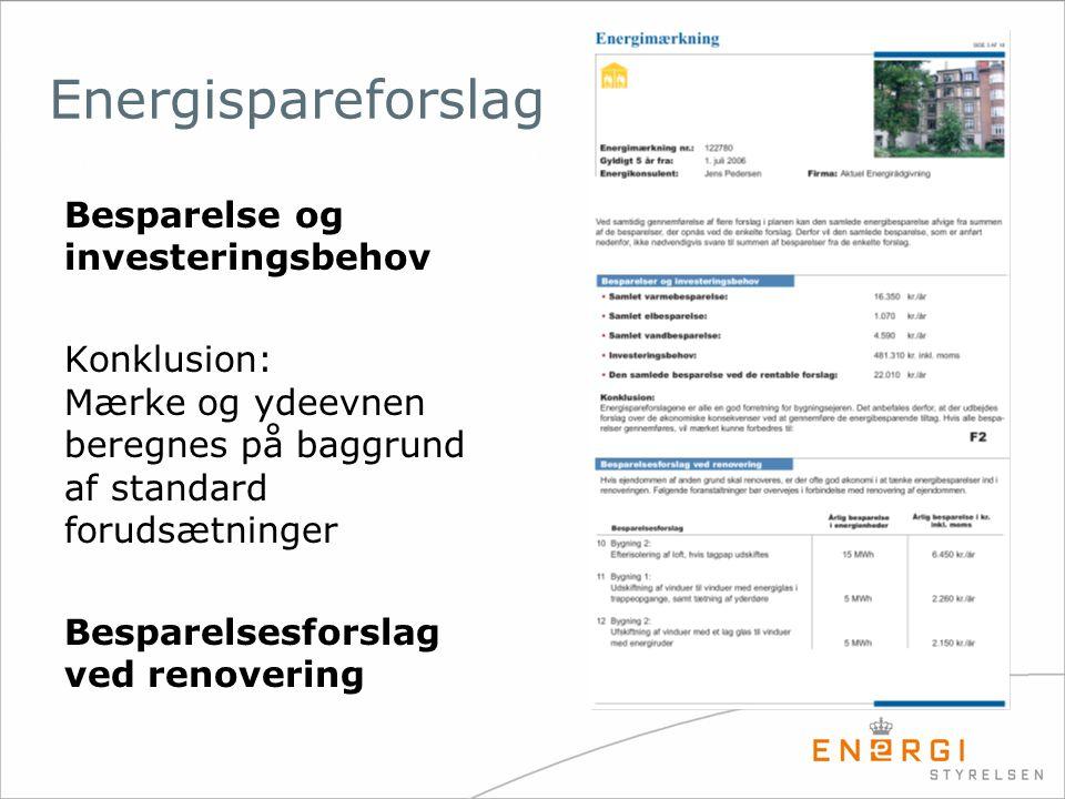 Energispareforslag Besparelse og investeringsbehov