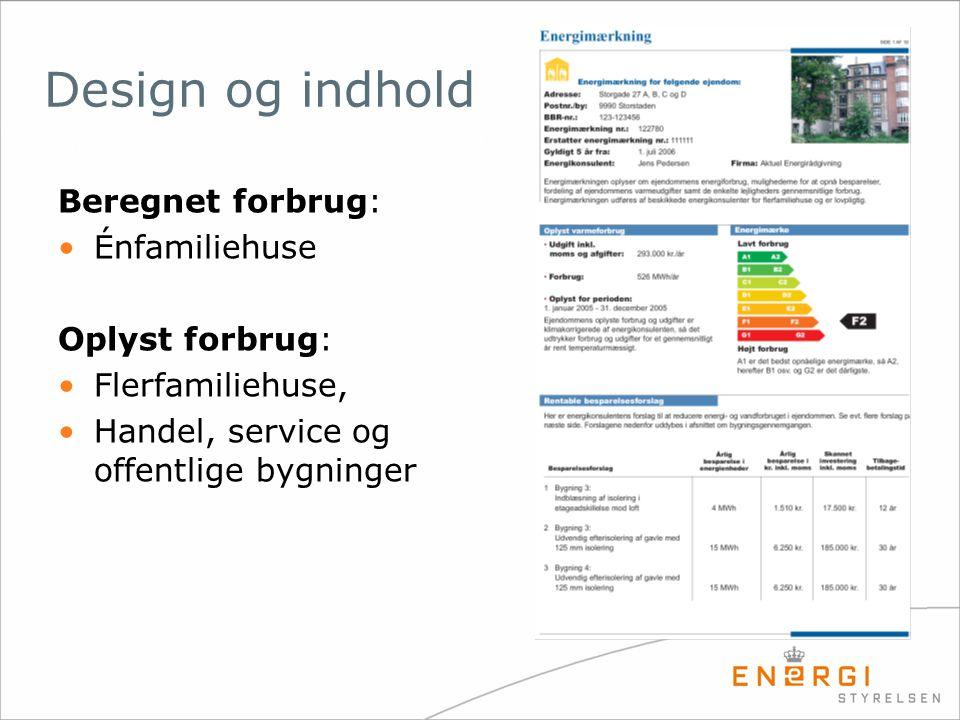Design og indhold Beregnet forbrug: Énfamiliehuse Oplyst forbrug: