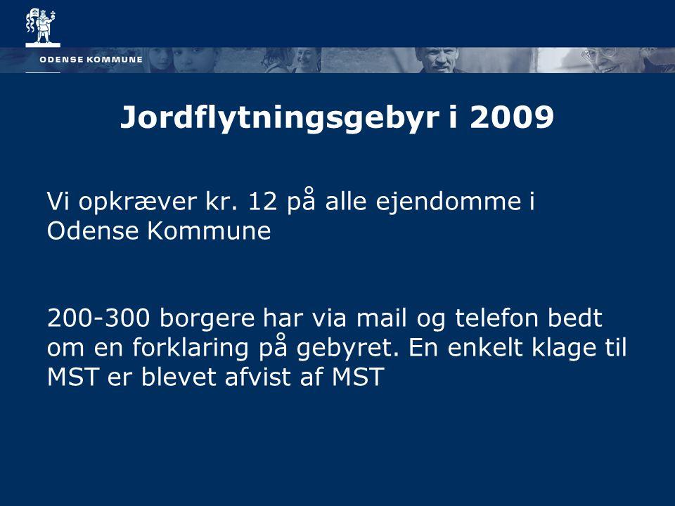 Jordflytningsgebyr i 2009 Vi opkræver kr. 12 på alle ejendomme i Odense Kommune.
