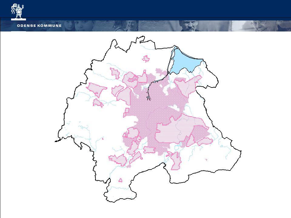 De røde og rødstribede områder udgør den samlede byzone