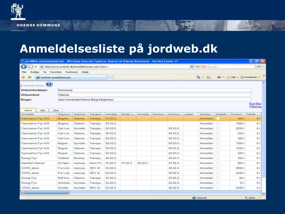 Anmeldelsesliste på jordweb.dk