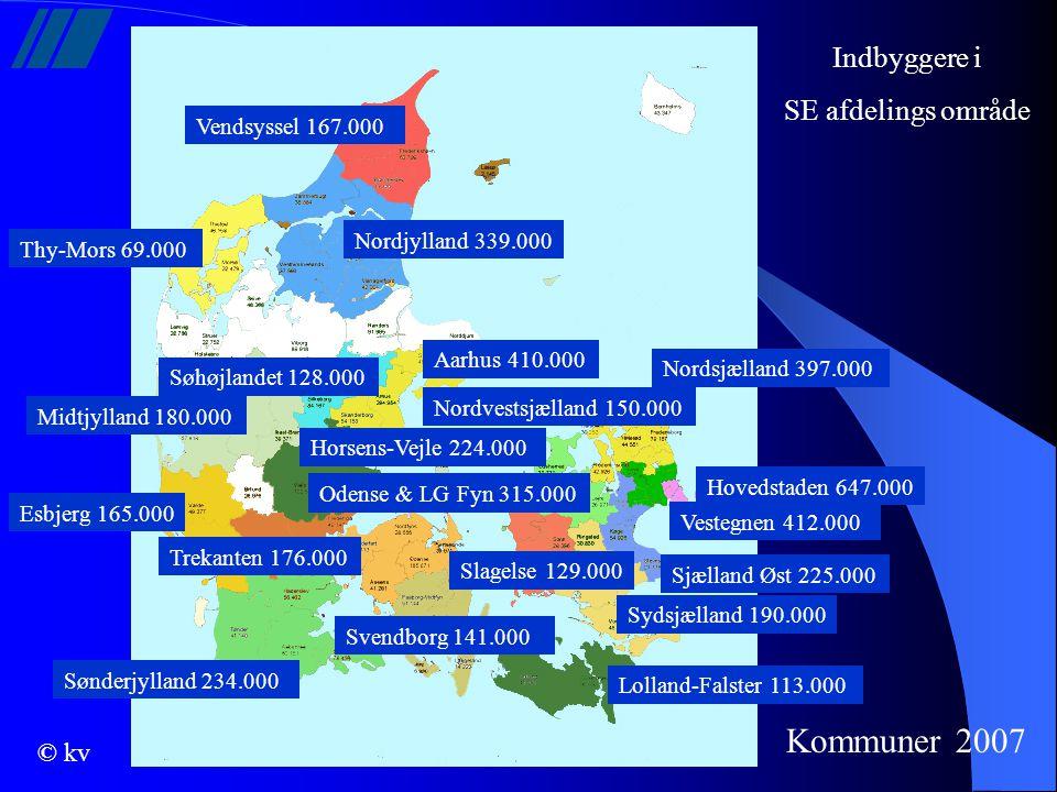 Kommuner 2007 Indbyggere i SE afdelings område Vendsyssel 167.000
