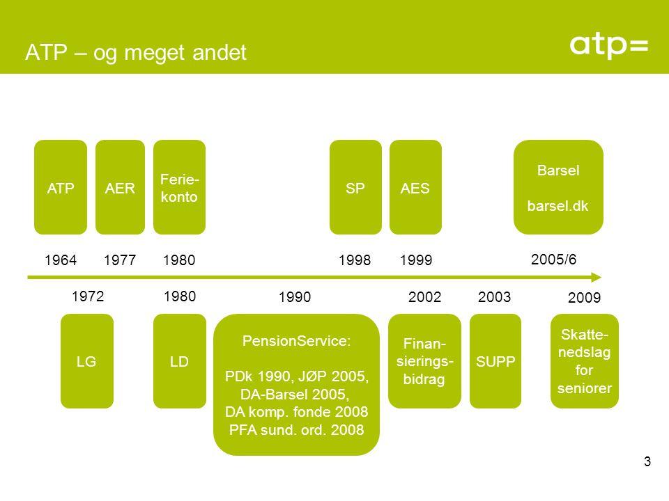 ATP – og meget andet ATP 1964 1972 LG AER 1977 LD 1980 Ferie- konto