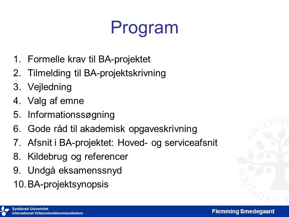 Program Formelle krav til BA-projektet