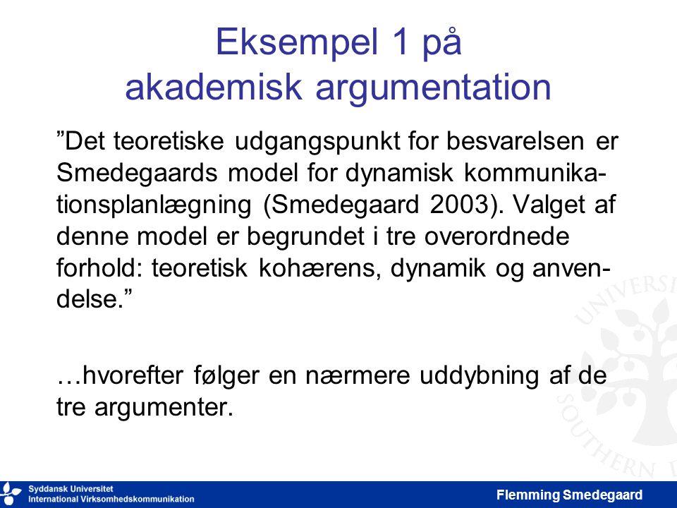 Eksempel 1 på akademisk argumentation