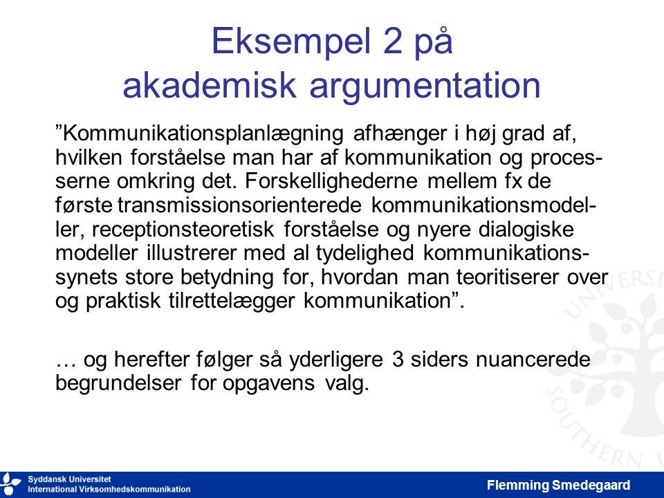 Eksempel 2 på akademisk argumentation