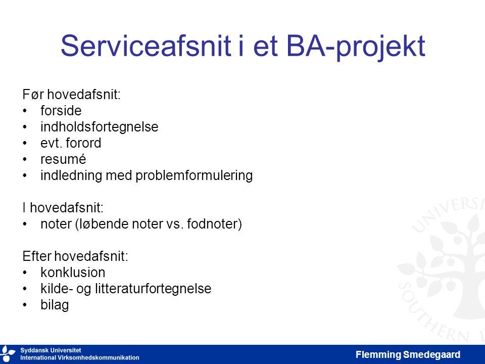 Serviceafsnit i et BA-projekt