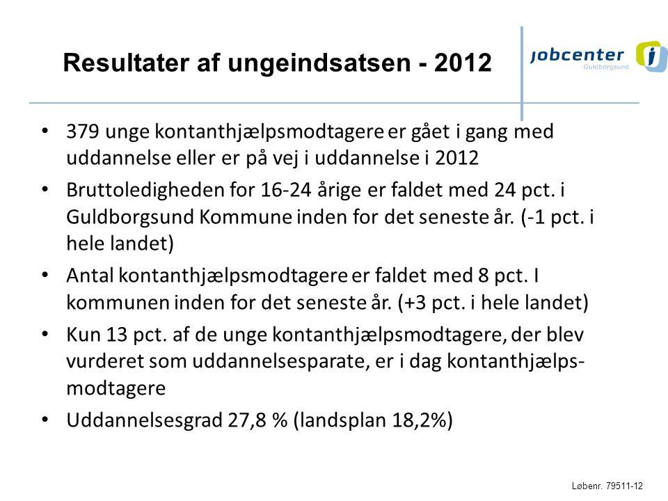 Resultater af ungeindsatsen - 2012