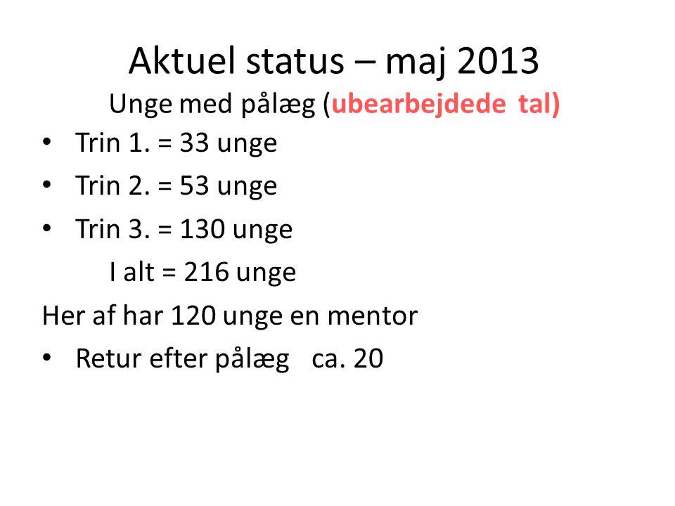 Aktuel status – maj 2013 Unge med pålæg (ubearbejdede tal)