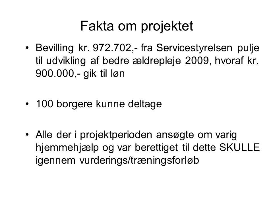 Fakta om projektet Bevilling kr. 972.702,- fra Servicestyrelsen pulje til udvikling af bedre ældrepleje 2009, hvoraf kr. 900.000,- gik til løn.