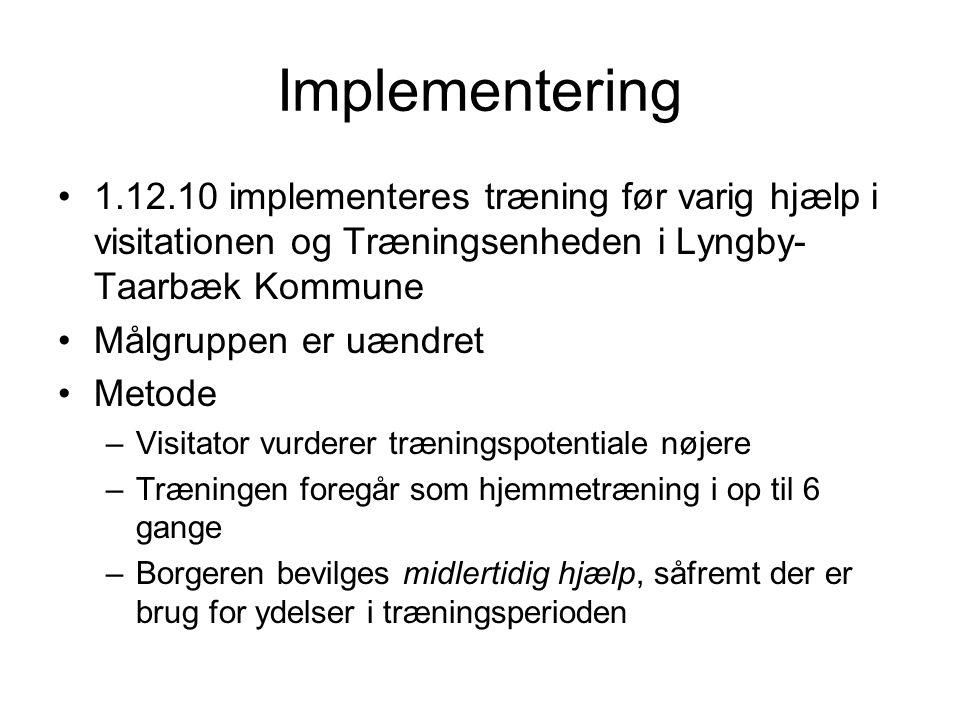 Implementering 1.12.10 implementeres træning før varig hjælp i visitationen og Træningsenheden i Lyngby-Taarbæk Kommune.