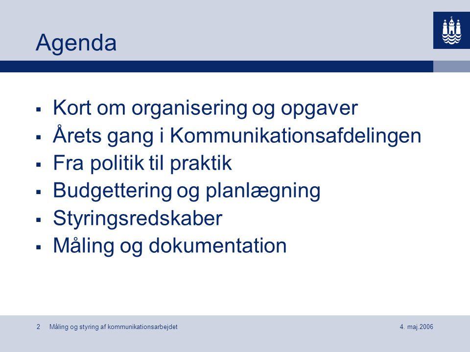 Agenda Kort om organisering og opgaver