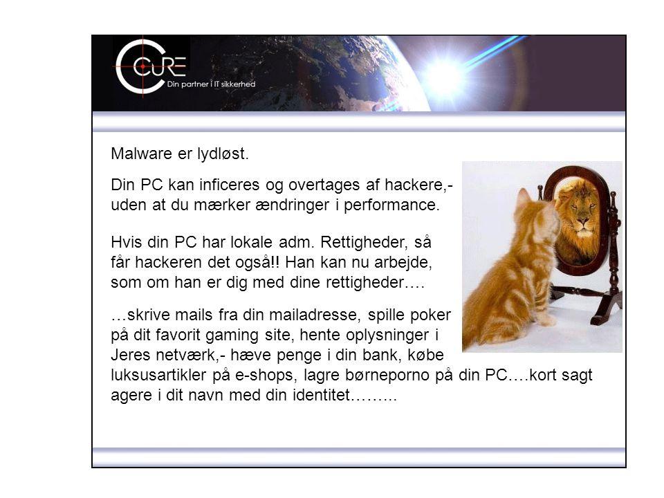 Malware er lydløst. Din PC kan inficeres og overtages af hackere,- uden at du mærker ændringer i performance.