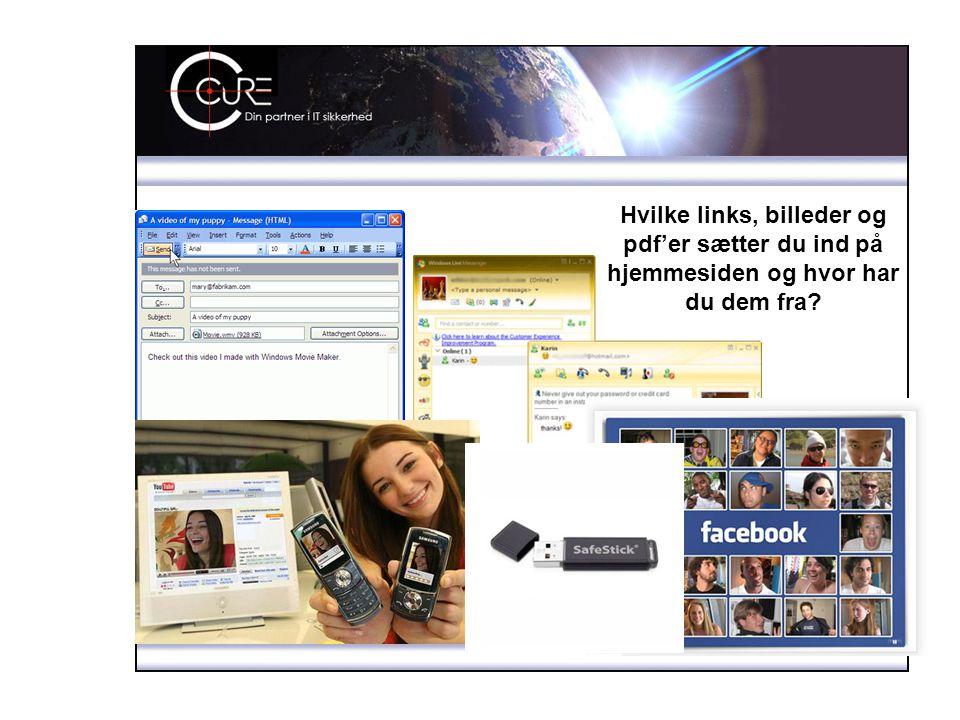 Hvilke links, billeder og pdf'er sætter du ind på hjemmesiden og hvor har du dem fra