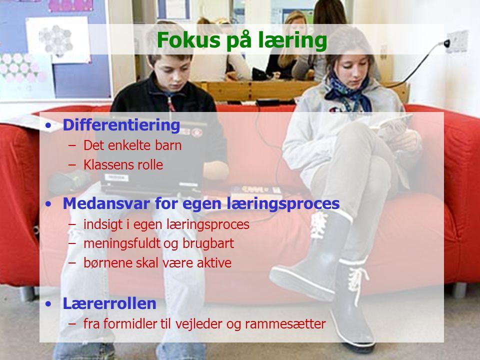 Fokus på læring Differentiering Medansvar for egen læringsproces
