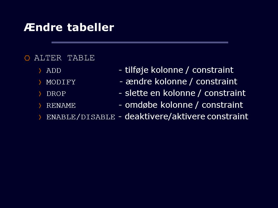 Relationsdatabaser og sql ppt download - Alter table add constraint primary key ...