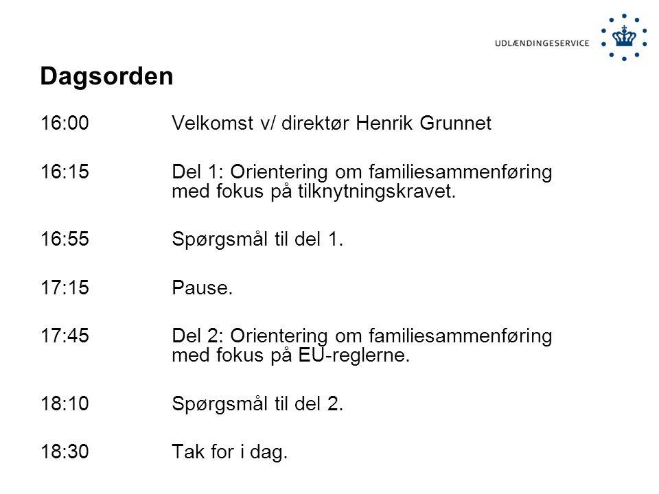 Dagsorden 16:00 Velkomst v/ direktør Henrik Grunnet