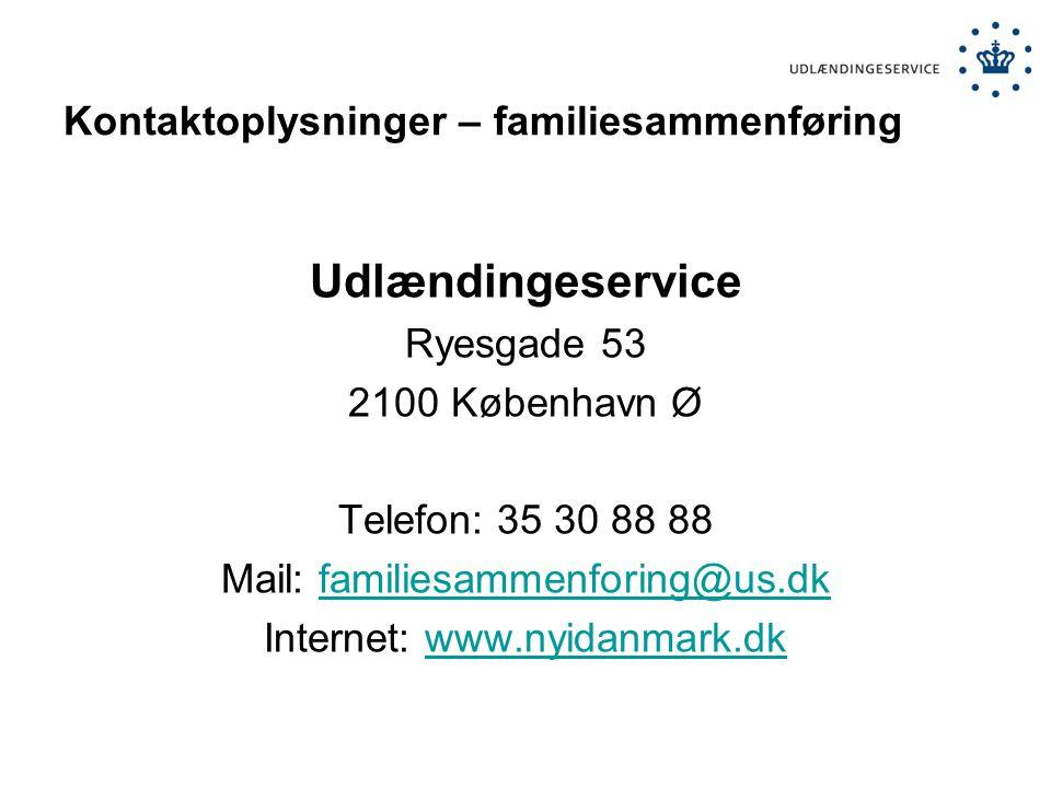 Kontaktoplysninger – familiesammenføring