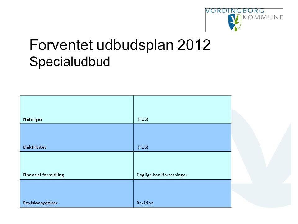Forventet udbudsplan 2012 Specialudbud