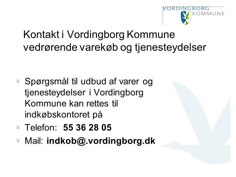 Kontakt i Vordingborg Kommune vedrørende varekøb og tjenesteydelser