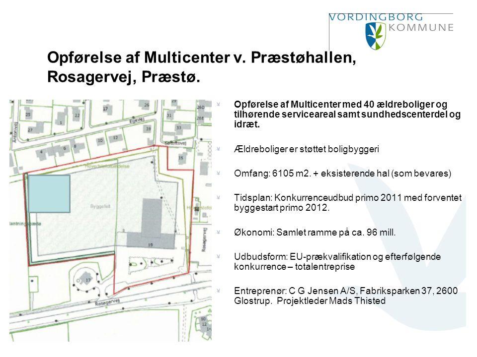 Opførelse af Multicenter v. Præstøhallen, Rosagervej, Præstø.