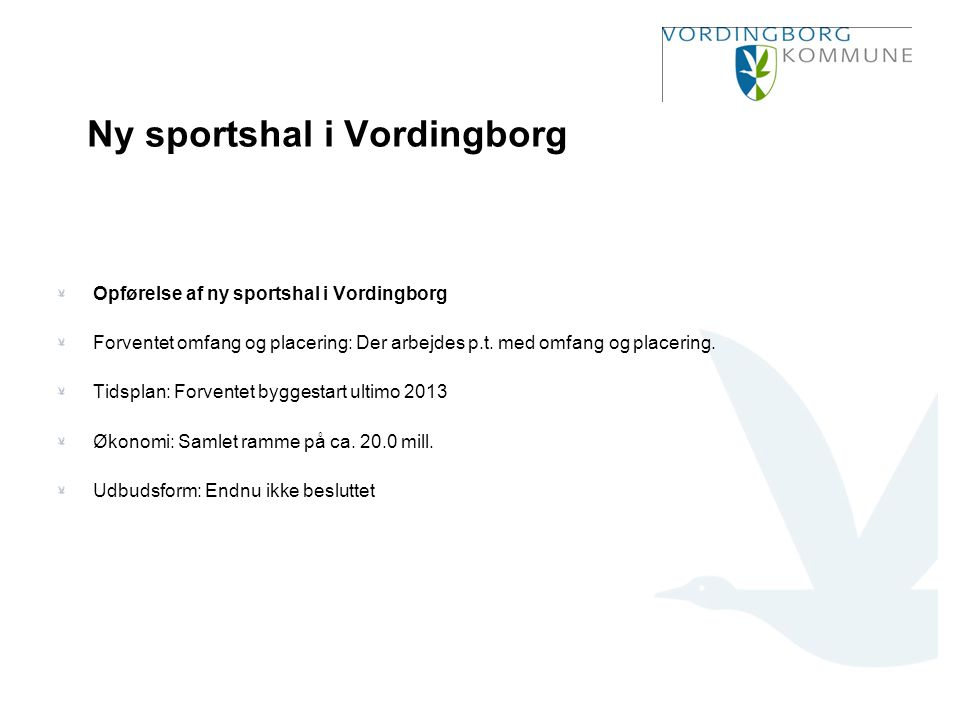 Ny sportshal i Vordingborg