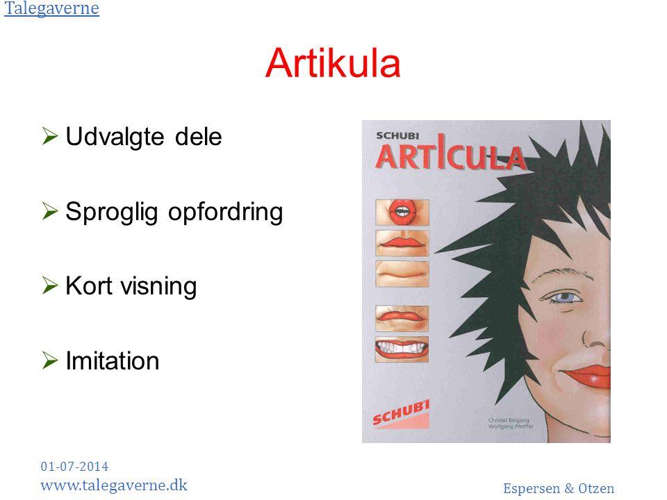 Artikula Udvalgte dele Sproglig opfordring Kort visning Imitation