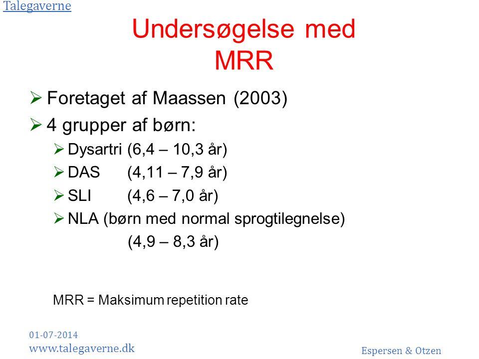 Undersøgelse med MRR Foretaget af Maassen (2003) 4 grupper af børn: