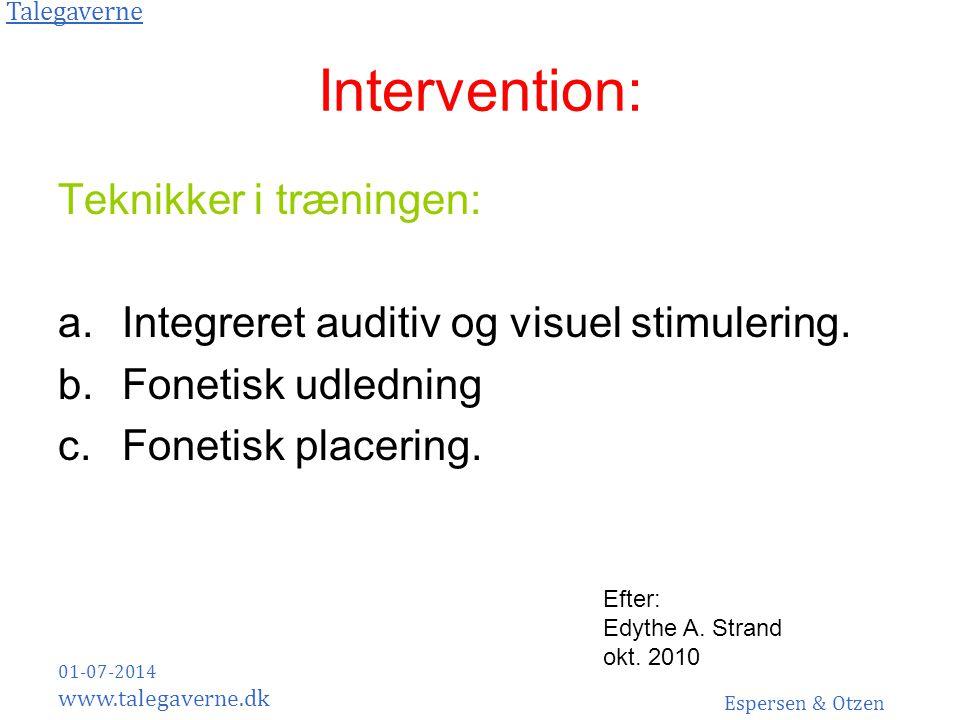 Intervention: Teknikker i træningen: