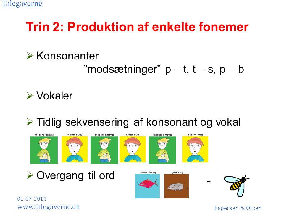 Trin 2: Produktion af enkelte fonemer