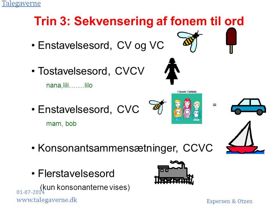 Trin 3: Sekvensering af fonem til ord