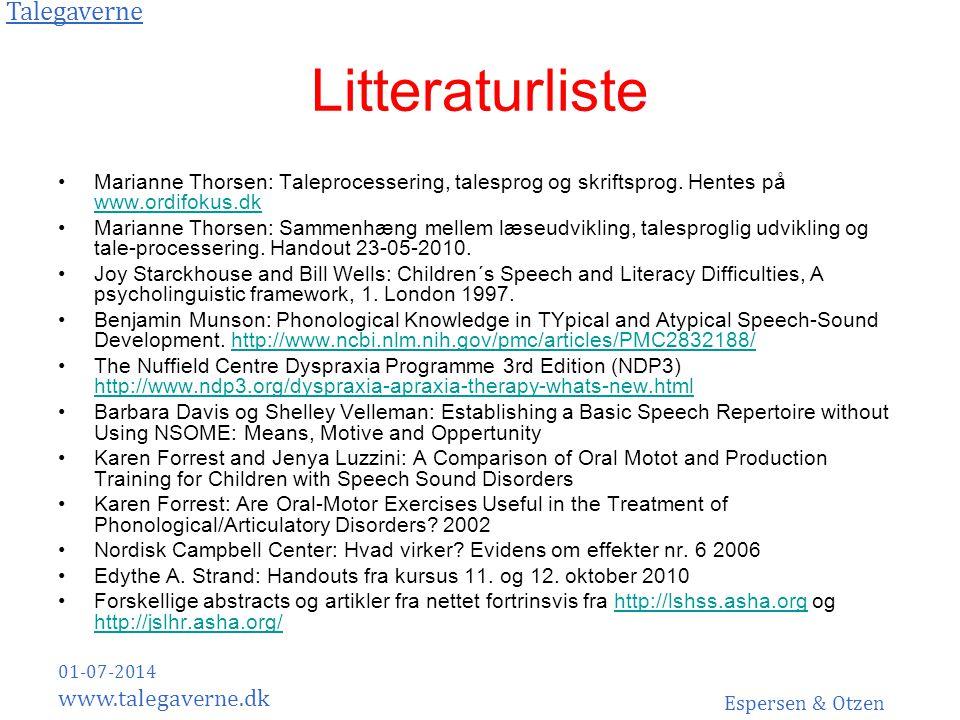 Litteraturliste Marianne Thorsen: Taleprocessering, talesprog og skriftsprog. Hentes på www.ordifokus.dk.