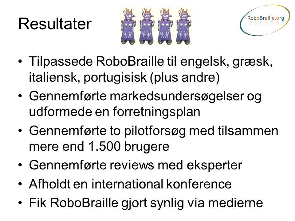Resultater Tilpassede RoboBraille til engelsk, græsk, italiensk, portugisisk (plus andre)