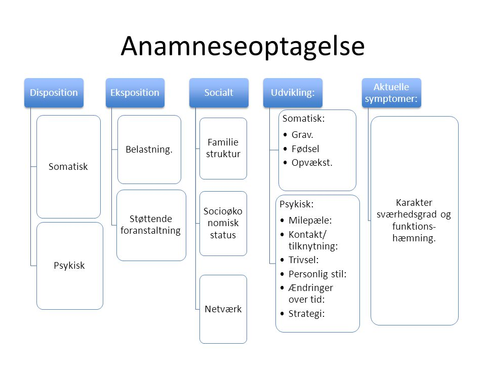 Anamneseoptagelse Disposition Somatisk Psykisk Eksposition Belastning.