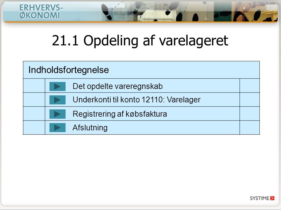 21.1 Opdeling af varelageret