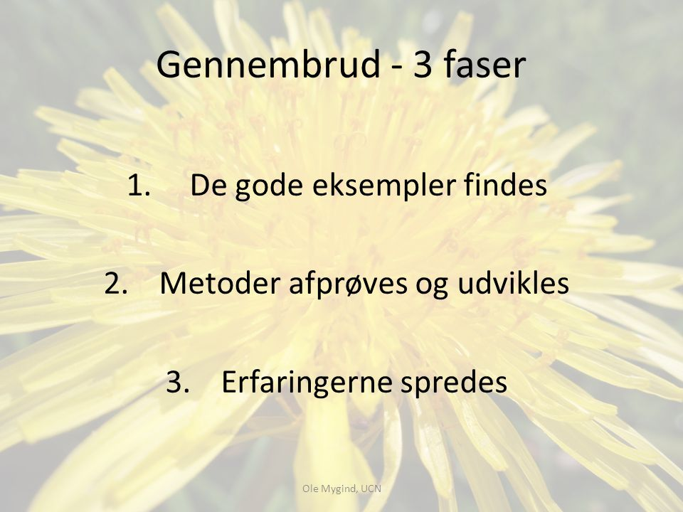 Gennembrud - 3 faser De gode eksempler findes